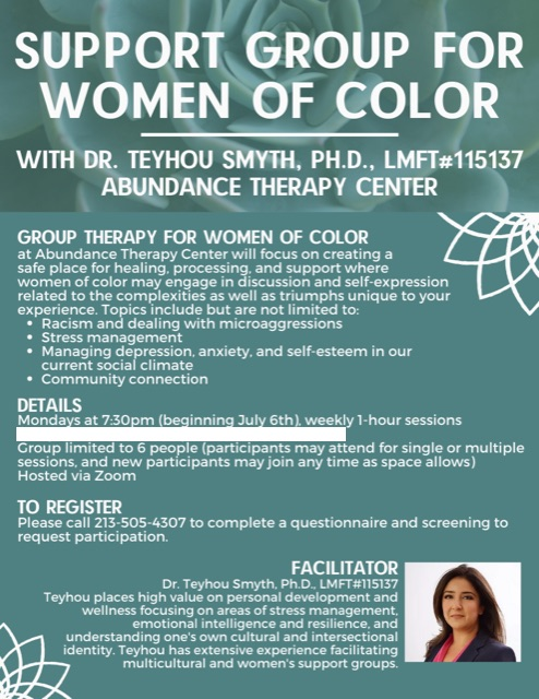 Online support group for women of color via zoom